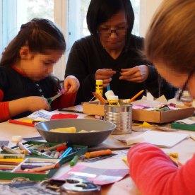 Postkarten-Workshop beim Nachbarschaftstreffen in PotsdamERA